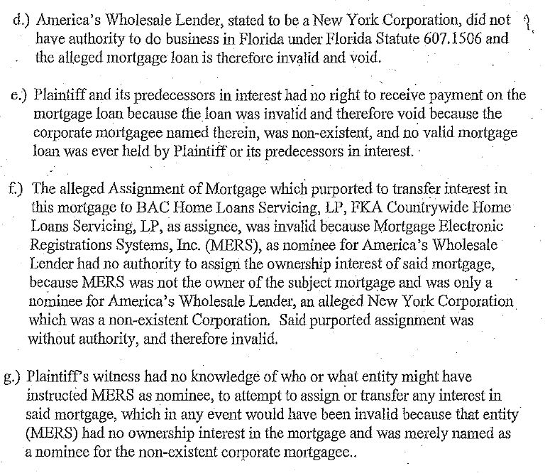 AWL Mortgage Note Void - FL 2